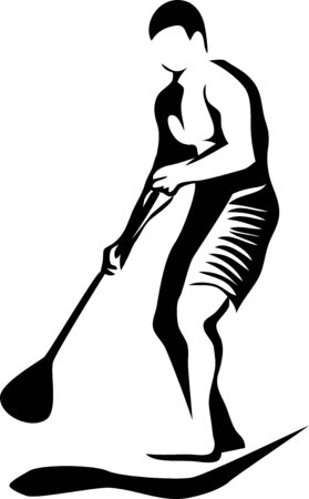 Drawing Sketch Style Illustration Of A Guy On Stand Up Paddle