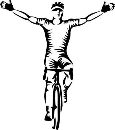Winning cyclist waving in joy
