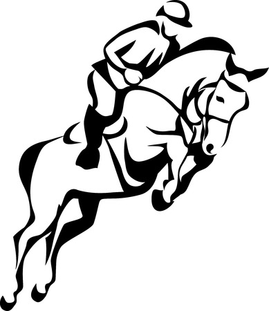 Show jumping - stylized vector illustration 向量圖像