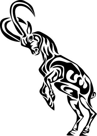 Ibex - gestileerde vector illustratie Stock Illustratie