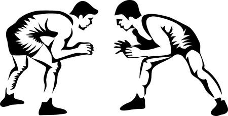레슬링 선수 - 흰색 배경, 벡터 일러스트 레이 션에 양식에 일치시키는.