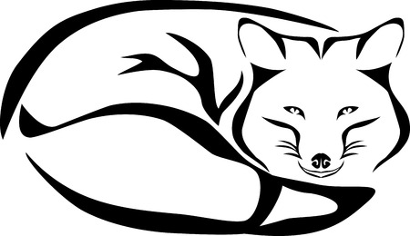 Fox with tail illustration.
