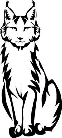 Lynx sitting - stylized vector illustration 일러스트