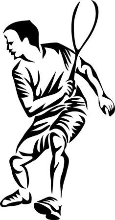 joueur de squash - illustration vectorielle stylisée Vecteurs
