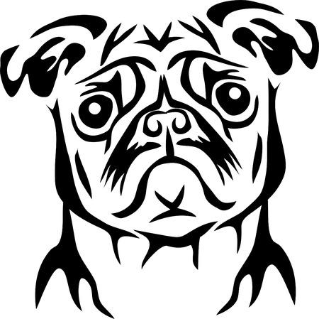 Pug dog portrait Stock Illustratie