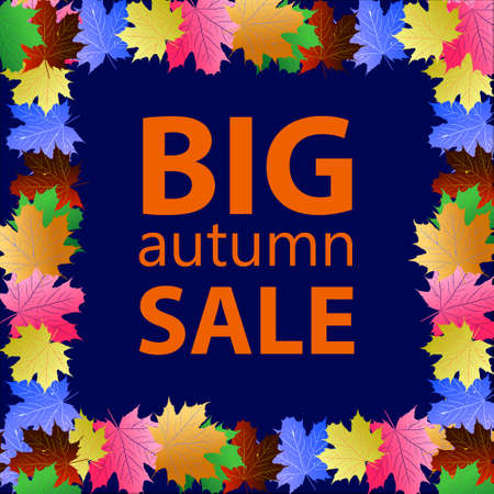 Seasonal big autumn sale business background with colored leafs. editable. vector.