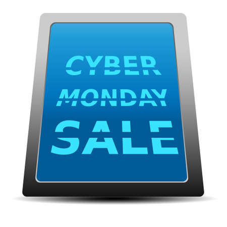 Cyber Monday design black tablet with text 向量圖像