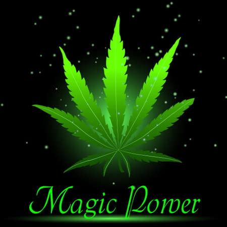 Magic ganja leaf for your design, vector illustration