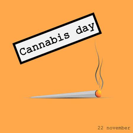 drug dealers: Cigarette with marijuana. Cannabis sheet and smoke drug. Vector illustration