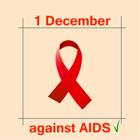 against: Awareness red ribbon aids, hiv, vector illustration