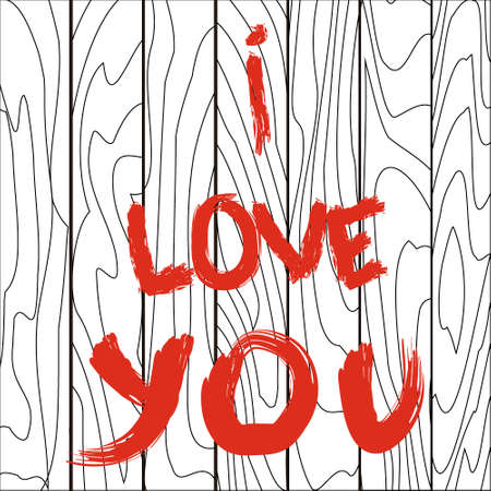 white wooden board with the inscription I love you with red paint Illustration