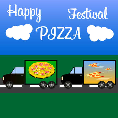 trucks consecutively carry a lot of different fast food stuff and a multinational pizza for the pizza festival Illustration