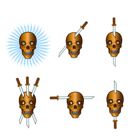 Skulls pierced with sword from different sides. Illustration