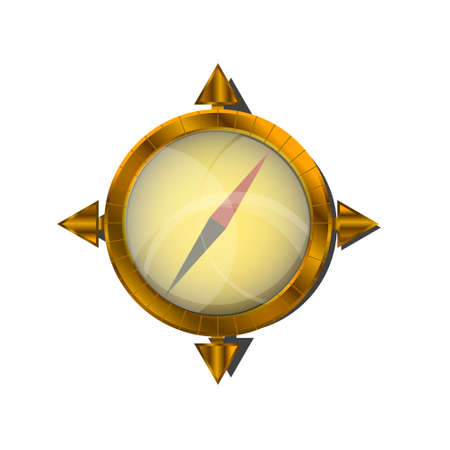 白い背景の上の黄金の羅針盤。