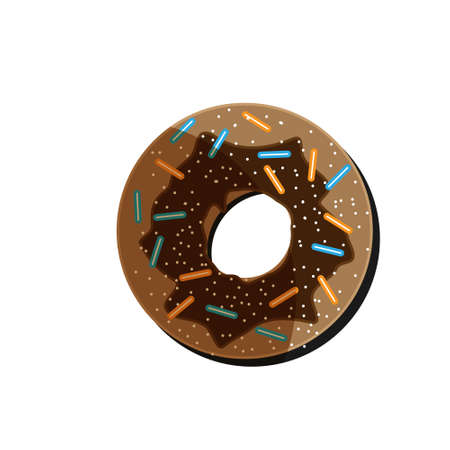 Chocolate donut, with strawberry jam, sprinkled with powder on a white background Vector illustration.