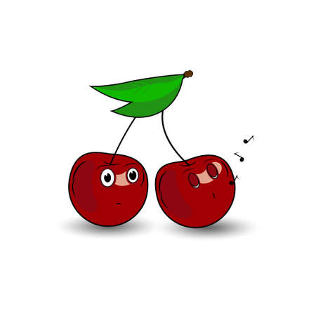 couple of cherries with emotions vector illustration Illustration
