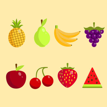 Set of ripe fruits on soft background vector illustration