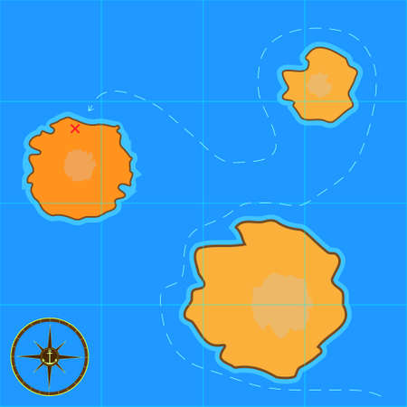 a cartoon treasure map for mobile games and consoles