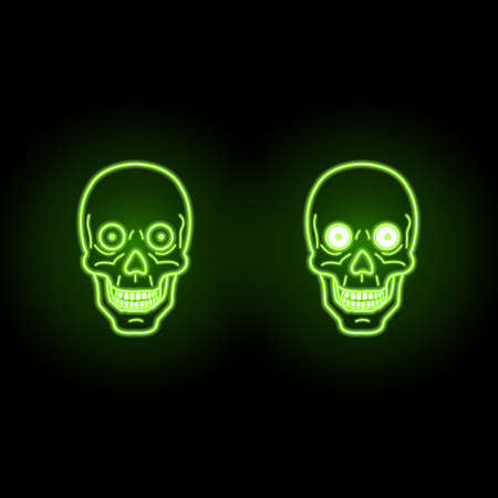 neon effect ufo green highlights two skulls from cyber universe on dark background