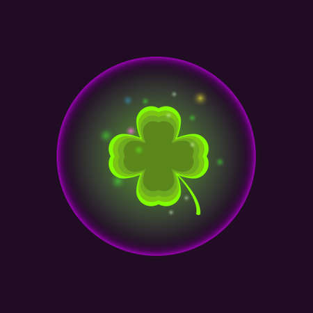 a neon sphere inside which is a four-leaf clover with powerful magic