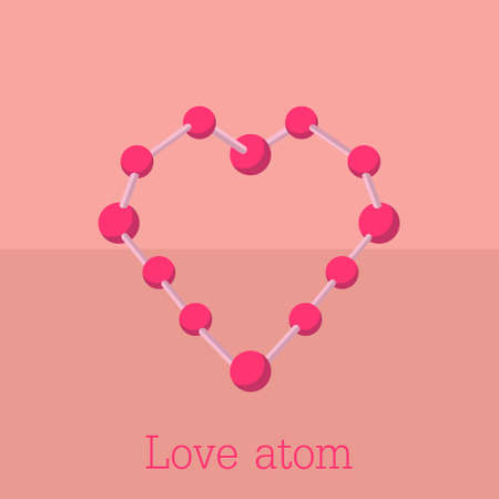 The heart is built in the form of the structure of the atom in pink  イラスト・ベクター素材