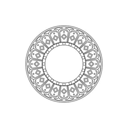 Native American style circle pattern for coloring on white background