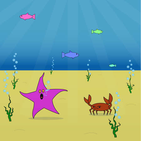 The starfish escapes from the enraged crab at the bottom of the ocean.