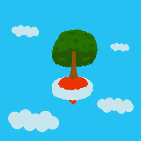 a tree grown from the heart soars inside a white cloud high in the blue sky Vectores