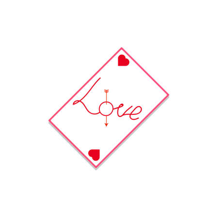playing card magic means about the fateful meeting of a loved one inscription love with red hearts in the corners and an arrow in the letter for Valentine s Day.