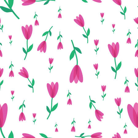 seamless flower pattern with pink petals of green stem on a white background