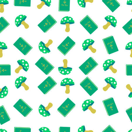 poisonous mushroom on a yellow stem with white spots book holy story in a green cover on a white background seamless pattern