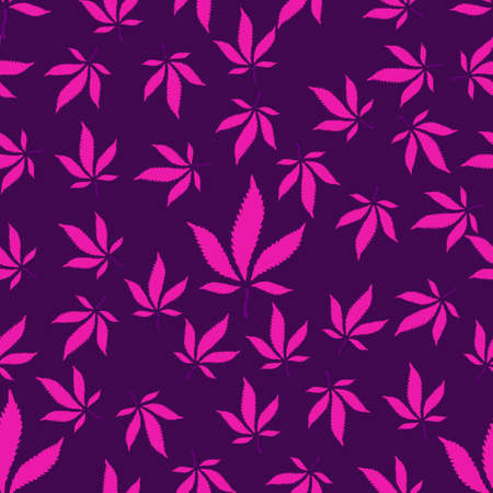 seamless pattern of pink cannabis leaves on a purple background