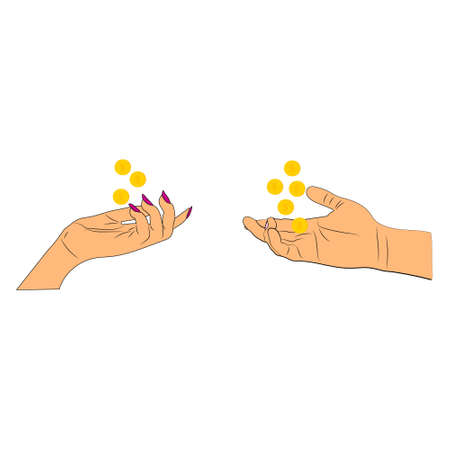 concept vector male hand and female hand outstretched to receive a cash reward one profession, different pay, gender standoff