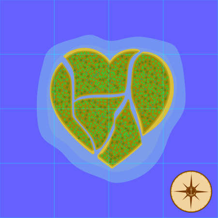 Island in the form of a heart in the middle of the ocean. Vector illustration. Map finding the island. Illustration
