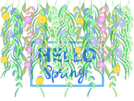 Multi-colored spring twigs with flowers and leaves directed downwards on a white background and the text hello spring. Vector work