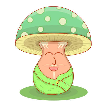 Vector illustration. Magic uncle mushroom. Rejoices on a white background.