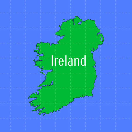 Contour map of the borders of Ireland. The main view of the continent is in green.  イラスト・ベクター素材