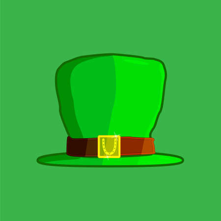For St. Patrick s Day, attributes in the form of a hat of a leprechaun, green, on a green background. With a golden plaque and horseshoe for good luck. vector illustration Banque d'images - 124746195