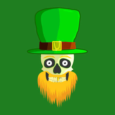 Skull of a leprechaun with a gold tooth in a green hat with an orange beard on a green background for St. Patrick s Day vector illustration