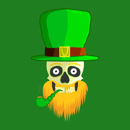The skull of a leprechaun with an orange beard, on a green background, in a green hat, with a golden plaque, smokes a wooden pipe, with one golden tooth. St.Patrick s Day. Vector illustration. Banque d'images - 124746198