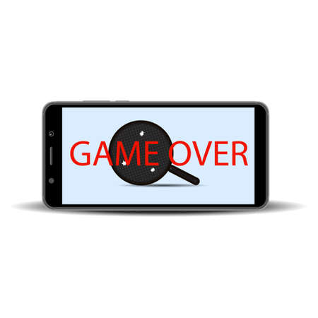 game on the smartphone screen on a white background. Frying pan with three holes of bullets. Vector illustration