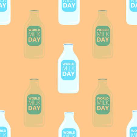 Vector illustration of milk bottle pattern on yellow background Ilustração