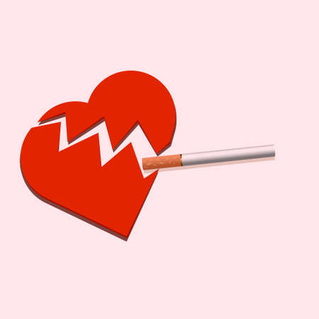 Red paper heart on a soft background with a cigarette between the crevices. vector illustration. No tobacco day Illustration
