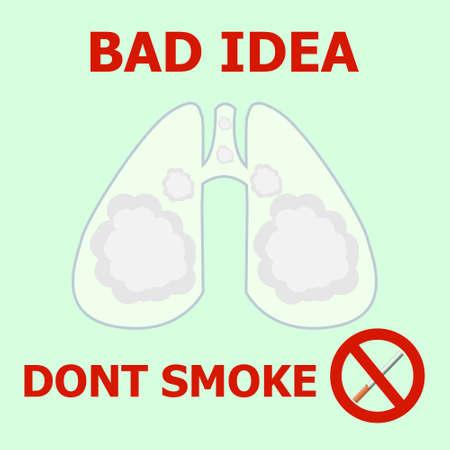 Los pulmones humanos están llenos de humo de tabaco. Cartel anti-tabaco. Ilustración vectorial