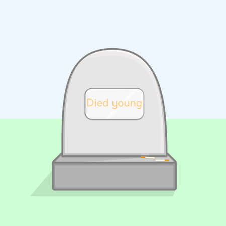 A day without tobacco. Vector illustration of a grave and two cigarettes on a sunny day. Against smoking