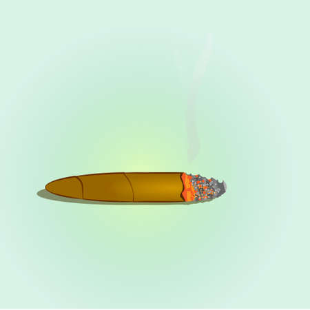 Cigar brown on a greenish background. graphic element, no tobacco day. Vector illustration