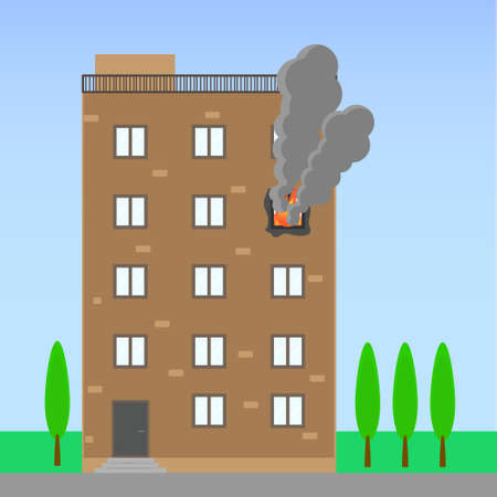 Residential building on a summer background, a fire on one of the floors due to a cigarette extinguished. A poster about the dangers of smoking. A day without tobacco. Vector illustration Ilustrace