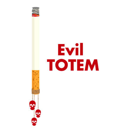 Poster on May 31, the day without tobacco. A cigarette tied with a thread with hanging human skulls, as a symbol of an evil totem. Vector illustration Ilustrace