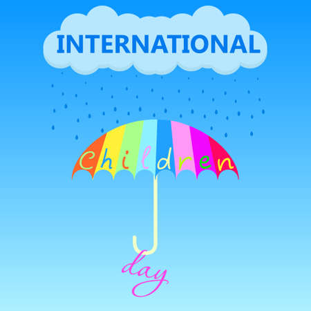 A multi-colored umbrella saves from unclear weather on the holiday of Childrens Day on the first of June. Vector illustration