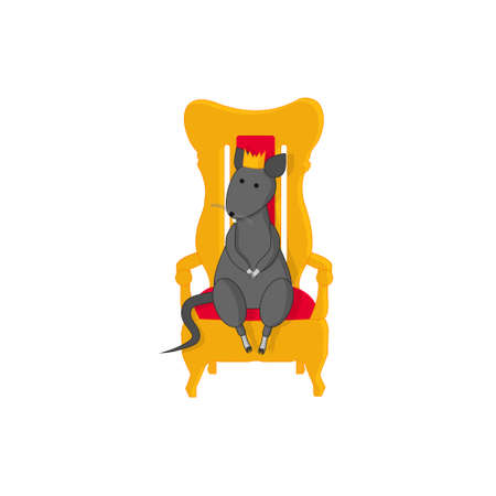 The rat sits on the royal throne with a crown on his head on the eve of Christmas and New Year. Symbol of the year, Chinese New Year, holiday, year of the golden rat.